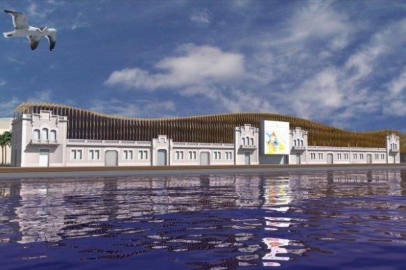 Projecte de l'Ermitage Barcelona vist des del Moll de la Fusta