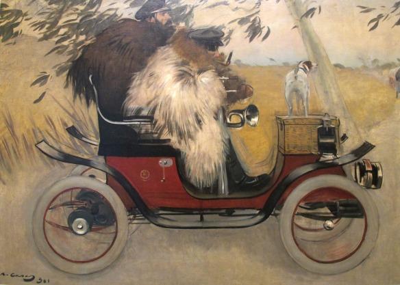 'Ramon Casas i Pere Romeu en un automòbil'