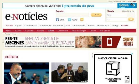 Bàner publicitari del projecte a E-Notícies