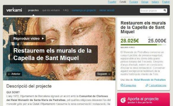 Capçalera del projecte Verkami de Pedralbes